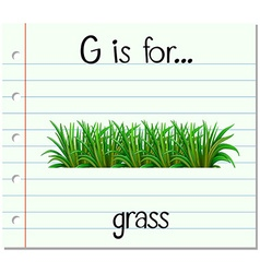 Flashcard letter g is for grass vector