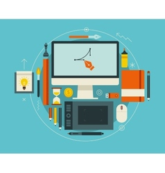 Flat design of modern creative designer workspace vector