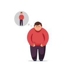 flat design young man thinks how to lose weight vector image