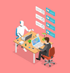 flat isometric concept chatbot ai vector image
