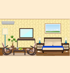 flat style interior of a hotel room with rest vector image