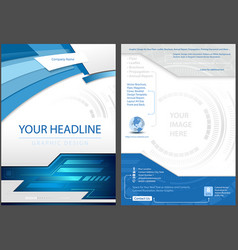 Flyer template in blue tech style vector