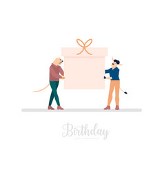 friends or colleagues hold giant gift box with vector image