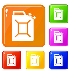 Fuel jerrycan icons set color vector