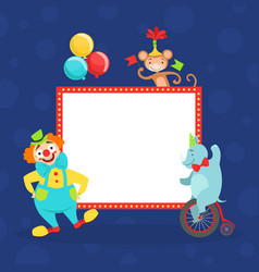 funny cheerful clown and animals and white empty vector image