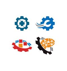 Gear business logo design template icon set vector