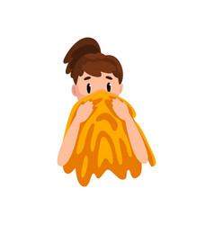 Girl wiping her face with a towel young woman vector
