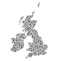 great britain and ireland map of triangles vector image