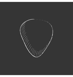Guitar pick Drawn in chalk icon vector