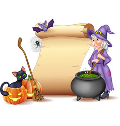 Halloween sign with witch stirring magic potion vector