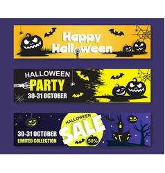 happy halloween banner template set paper vector image