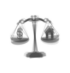 House and dollar symbol on scales gray vector