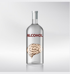 Human brain inside a bottle with alcohol vector