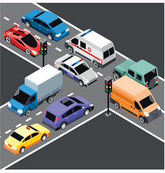 Isometric city transport template vector