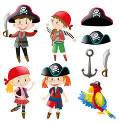 Kids in pirate costume and parrot pet vector