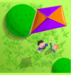 kids with kite in air concept background cartoon vector image