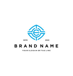 Letter e tech logo design vector