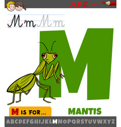 Letter m from alphabet with cartoon mantis insect vector
