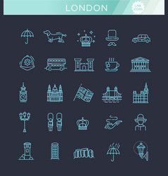 london icons set england thin line design vector image