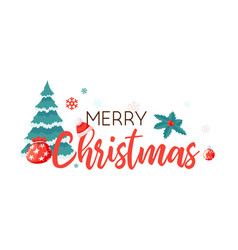 merry christmas xmas badge with lettering on vector image