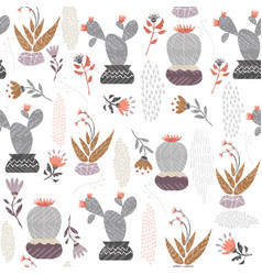 Mexican cactus plant seamless pattern art vector
