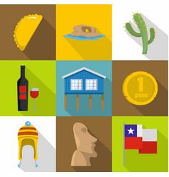 Mexico icons set cartoon style vector