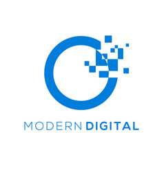 Modern digital logo initial o with pixel effect vector