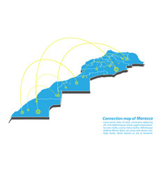 Modern of morocco map connections network design vector