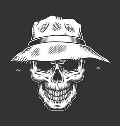 Monochrome skull wearing panama hat vector