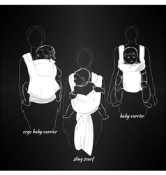 mothers with children in a sling on black vector image