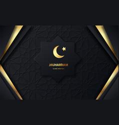 muharram islamic new holiday gold moon and luxury vector image