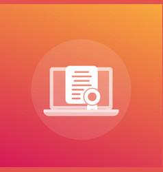 Online certification certificate icon vector