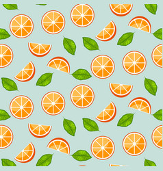 orange citrus with green leaves on blue background vector image