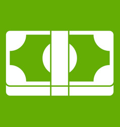 Packed dollars money icon green vector
