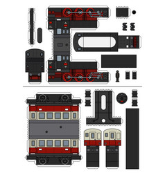 Paper model a classic steam passenger train vector