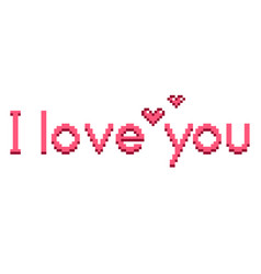 pixel i love you text detailed isolated vector image