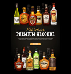 premium drinks and alcohol beverages sketch vector image