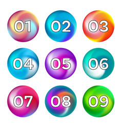 rainbow color buttons with numbers vector image