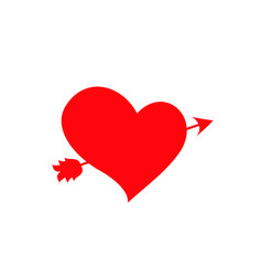 red heart pierced with arrow on white background vector image