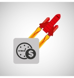 Red rocket concept business time money vector