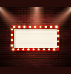 retro signboard with lights advertising banner on vector image