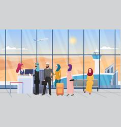Saudi arab people waiting in line in airport hall vector