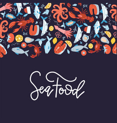 sea food frame flat hand drawn menu cover design vector image