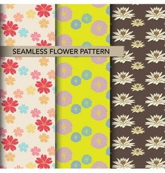 Seamless colorful flower pattern set vector