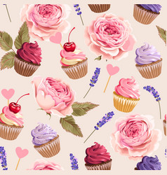 seamless pattern with cupcakes and flowers vector image