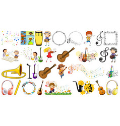 Set different musical instruments vector