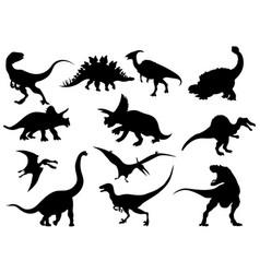 set dinosaur silhouettes collection extinct vector image