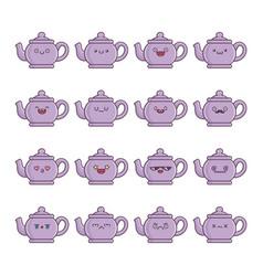 set fun kawaii kettle teapot icon cartoons vector image
