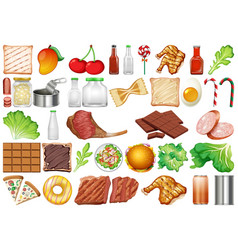 Set isolated objects theme - food vector