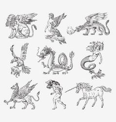 Set of mythological animals mermaid minotaur vector